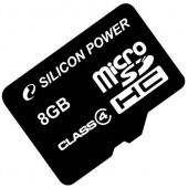 Карта памяти Micro SDHC Silicon Power 8ГБ SP008GBSTH004V10